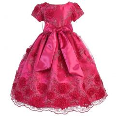 Little Girls Fuchsia Satin Lace Floral Embroidery Special Occasion Dress 2-6