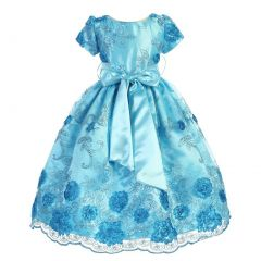 Little Girls Turquoise Satin Lace Floral Embroidery Special Occasion Dress 2-6