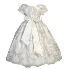 Little Girls White Satin Lace Floral Embroidery Special Occasion Dress 2-6