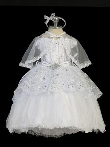 Tip Top Kids Baby Girls White Tailed Organza Glitter Tulle Baptism Gown 0-12M