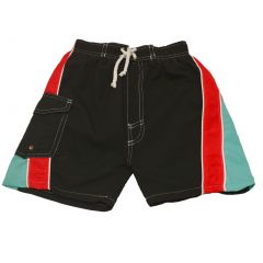 Quad Seven Little Boys Black Red Blue Paneled Drawstring Swim Trunks 2T-7