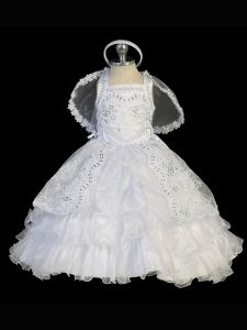 Tip Top Kids Baby Girls White Criss Cross Back Corset Ties Baptism Gown 0-12M