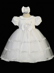 Tip Top Kids Baby Girls White Ropone Bow Headband Ruffle Baptism Gown 6-18M
