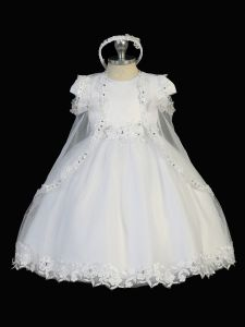 Tip Top Kids Baby Girls White Satin Tulle Floral Applique Baptism Gown 0-12M