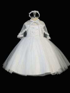Tip Top Kids Little Girls White Cap Sleeves Illusion Neck Christening Gown 2-6