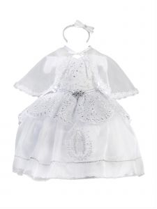 Baby Girls White Off-Shoulder Virgin Mary Organza Christening Dress 6-9M