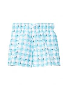 Azul Little Boys Light Blue Anchor Print Elastic Band Drawstring Swim Shorts 2-6