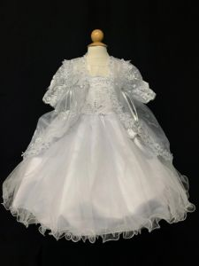 Tip Top Kids Little Girls White Long Sleeve Embroidered Baptism Gown 2-6
