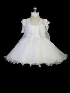 Tip Top Kids Baby Girls White Lace Vertical Embroidery Flower Girl Dress 0-24M