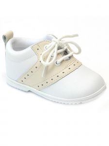 Angel Girls White Beige Lace Up Oxford Perforated Crib Shoes 1-4 Baby