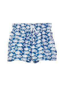 Azul Little Boys Blue Fish Print Elastic Band Drawstring Swim Shorts 2-6
