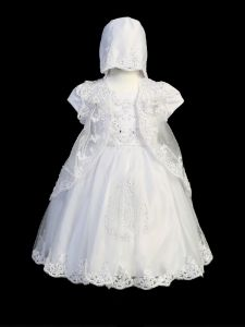 Tip Top Kids Little Girls Cap Sleeve Lace Cape Bonnet Baptism Dress 3