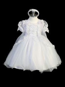 Tip Top Kids Little Girls Puff Sleeve Lace Cape Baptism Dress 5