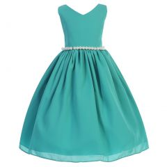 Big Girls Jade Wool Dobby V-neck Pearl Waist Junior Bridesmaid Dress 8-12