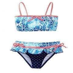 Azul Little Girls Blue Red Floral Dot American Dream 2 Pc Skirted Bikini 2-4T