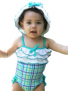 Azul Baby Girls Aqua Life Is A Picnic Frills 1 Pc Swimsuit 18-24M
