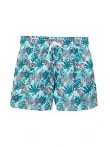 Azul Big Boys Aqua Zebra Print Elastic Band Drawstring Swim Shorts 8-14