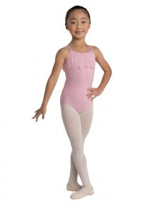 Danshuz Big Girls Pink Pearled Accents Chiffon Pleated Yoke Leotard 6X-14