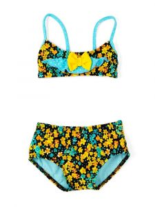 Azul Baby Girls Turquoise Prairie Girl Bow Bandeau Bikini 2 Pc Swimsuit 12-24M