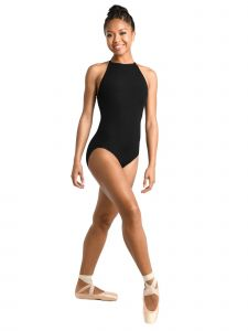 Danshuz Women's Black Cutaway Halter Keyhole Latch Back Dance Leotard P-XL