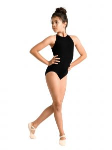 Danshuz Girls Black Cutaway Halter Keyhole Latch Back Dance Leotard 4-14