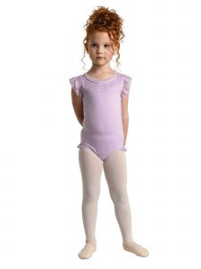 Danshuz Little Girls Lavender Scalloped Lace Yoke Tank Style Leotard 2T-6