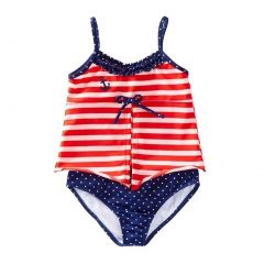 Azul Little Girls Red White Stripe In The Navy Open Tankini 2 Pc Swimsuit 2-6