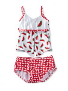 Azul Baby Girls Red Watermelons 2 Pc Open Tankini Swimsuit 12-24M