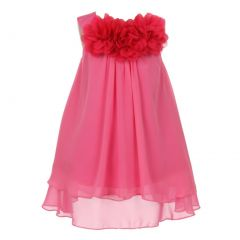 Kids Dream Big Girls Fuchsia Mesh Flowers Chiffon Special Occasion Dress 8-14