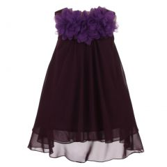 Kids Dream Big Girls Eggplant Mesh Flowers Chiffon Special Occasion Dress 8-14