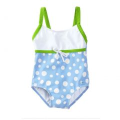 Azul Baby Girls Blue Green Tie Accent Dippin' Dots One Piece Swimsuit 12-24M