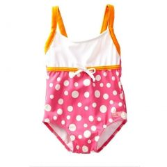 Azul Little Girls Pink Orange Tie Accent Dippin' Dots One Piece Swimsuit 2-6