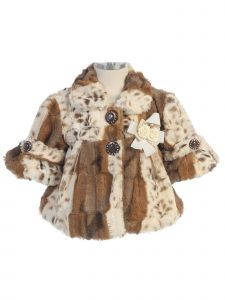 Bijan Kids Girls Tan Brown Animal Print Rose Detail Faux Fur Jacket 24M-4