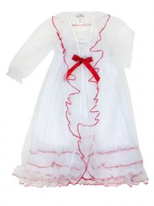 Laura Dare Little Girls Red Sweet Princess Peignoir Nightgown Trim Robe 2T-6X