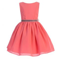 Ellie Kids Big Girls Coral Dobby Wool Rhinestone Junior Bridesmaid Dress 8-12
