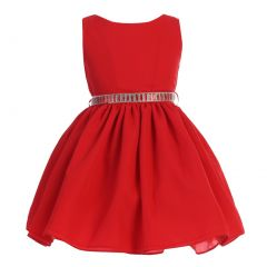 Ellie Kids Little Girls Red Dobby Wool Rhinestone Flower Girl Dress 4-6