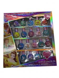 Disney Little Girls Multi Color Beauty And The Beast Peal-able Nail Polish Set
