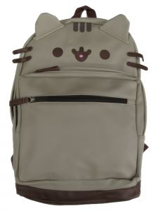 Pusheen Unisex Gray PU Leather Backpack with 3D Ears