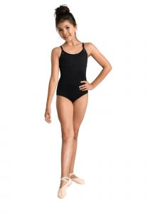Danshuz Big Girls Black D-Macrame Back Woven Strap Dancewear Leotard 6X-14