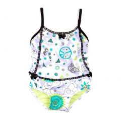 Azul Baby Girls Lilac Black Floral Sassy Does It One Piece Swimsuit 6-24M