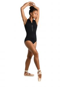 Danshuz Women's Black Zipper Front Scuba Style Side Panel Dance Leotard L