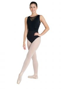 Danshuz Women's Black V-Neck Large Hole Back Zip Mesh Yoke Dance Leotard P-XL