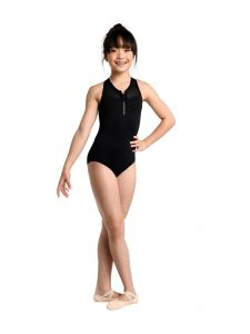 Danshuz Big Girls Black Contemporary Athletic Style Zip Mesh Yoke Leotard 6X-14
