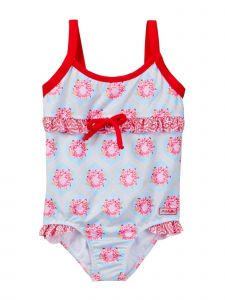 Azul Baby Girls Blue Red Floral The Girl Next Door One Piece Swimsuit 12-24M