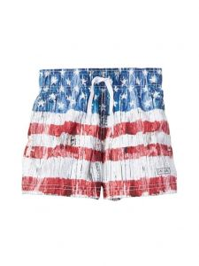 Azul Little Boys Red Vintage Americana Print Drawstring Swim Shorts 4-6