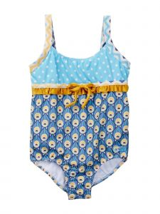 Azul Little Girls Blue Yellow Sea Shell Touch Of Gold One Piece Swimsuit 2-6