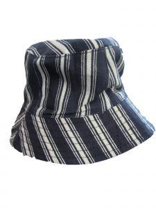 Boys Girls Navy White Stripe Pattern Breathable Cotton Bucket Hat 2-4 Y
