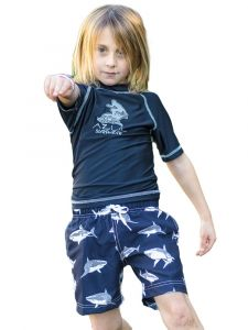 Azul Little Boys Navy Sharknado Print Drawstring Tie Swim Shorts 2T