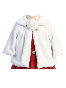 Kids Dream White Faux Special Occasion Half Coat Girls 4-10