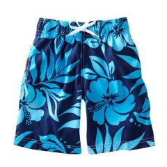 Azul Little Boys Navy Floral Print True Blue Drawstring Tie Swim Shorts 2-6